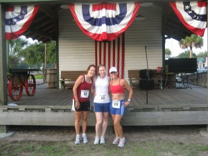 Lori, Leslie and me at the Lutz Independence Day Run